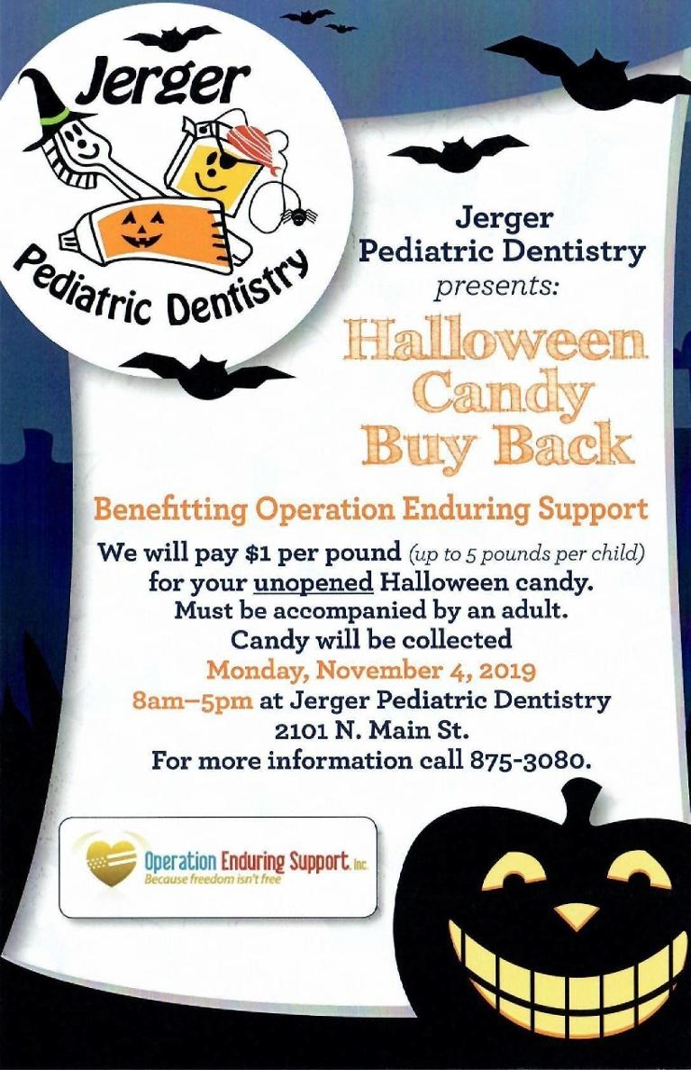 Flyer for Halloween Candy Buyback at Jerger Pediatric Dentistry in Decatur IL
